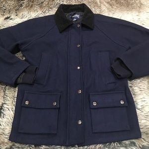 Stussy Women's Navy Wool Blend Zip Snap Up Jacket